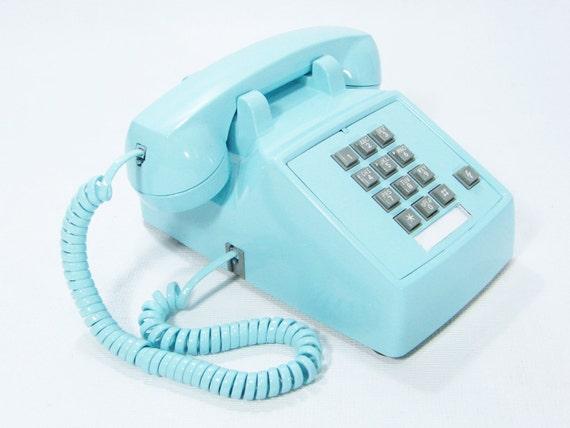 Aqua Blue Phone Vintage push button telephone