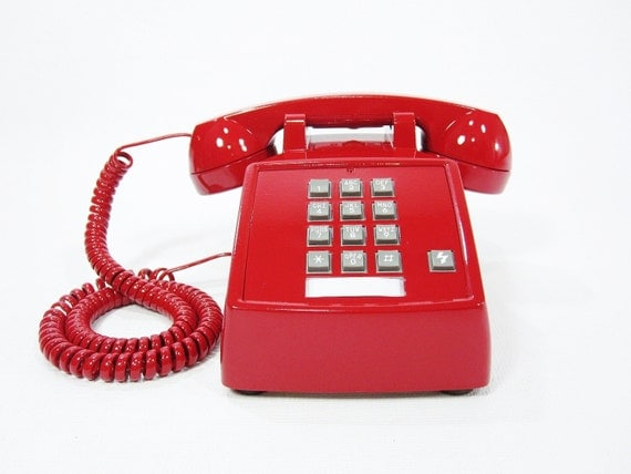 Vintage telephone Cherry Red push button phone