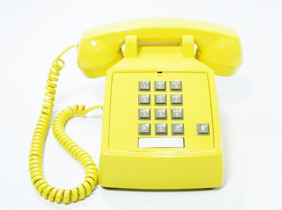 Vintage telephone yellow push button phone RESERVED