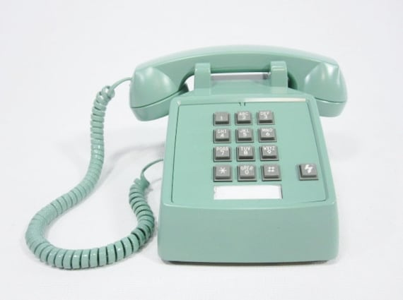 Vintage Phone Sea Green push button telephone