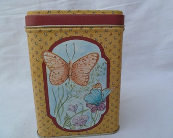 Decorative Metal Can with Butterflies and Flowers Vintage