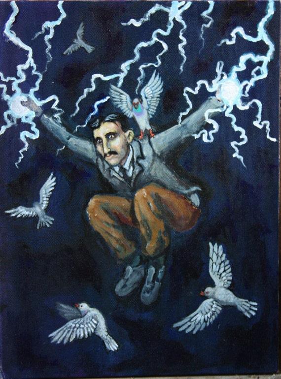 Nikola Tesla acrylic painting