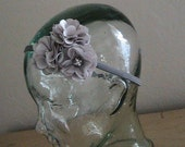 Silver Satin Flower Headband