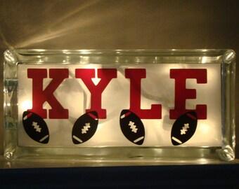 Boys room glass block night light-Sports-Basketball-Football-Customize it-Vinyl lettering