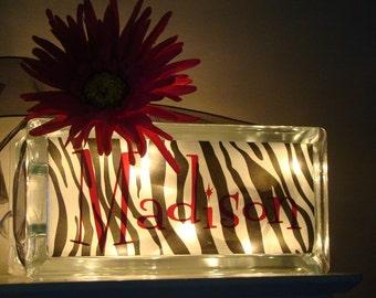 Zebra Teen night light block vinyl lettering