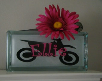 Customized Personalized Girls glass block night light-Biker theme vinyl lettering