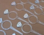 Cupcake Toppers - Glitter Diamond Ring Wedding Shower or Engagement Party - 36 PCS.
