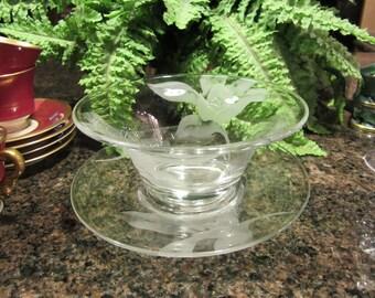 Vintage etched crystal serving dish