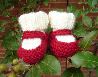 Hand knit baby booties - Mary Jane