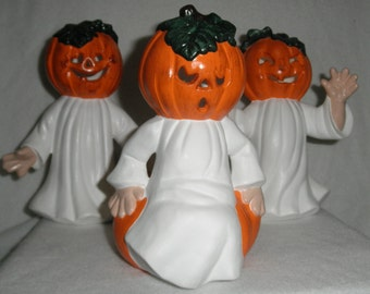 "Ceramic Pumpkin Ghost Kids w/light (set of 3, 7"")"