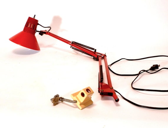 Vintage Tomato Red Metal Anglepoise Desk Lamp