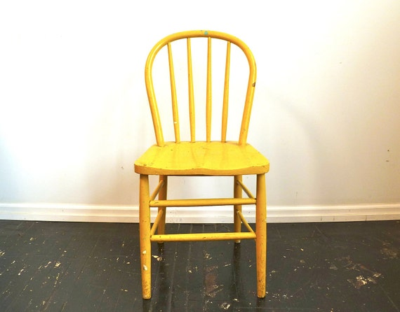RESERVED for Sarah ... Vintage Wood Chair ... Yellow, Painted, Spindle Back, Wooden, Rustic