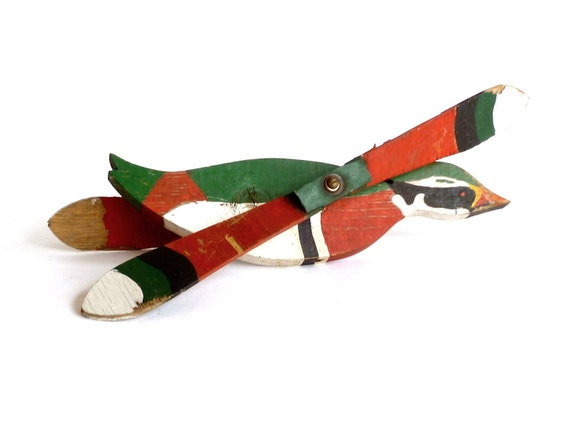Folk Art Wood Bird Whirligig ... Handmade, Red and Green, Weathervane, Americana, Wood Duck