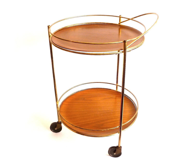 vintage round brass bar cart swedish wood tray wheels. Black Bedroom Furniture Sets. Home Design Ideas