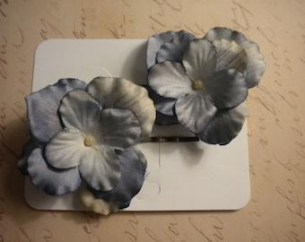 Dusty Denim Flower Hair Pins