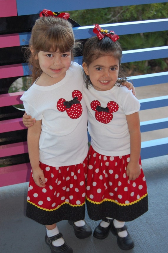 Mickey Mouse or Minnie Mouse Couture Short Sleeve Crew Neck Shirt- Sizes 12 months-8years
