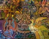 Decoupage Oriental Buddhist Collage - 8x10 Giclee Print - Buddha's Delight