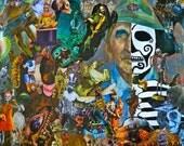 Mixed Media Decoupage Dia de los Muertos themed - 8x10 print - El Viejo