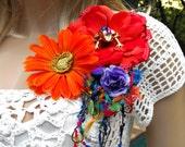 Colorful Corsage Brooch - Purple, Orange and Red with Frog
