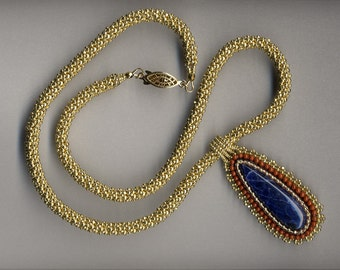 Sodalite Cabochon Beadwork Pendant with Gold Russian Spiral Weave Necklace