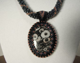 Crinoid Fossil Marble Beadwork Pendant with Russian Spiral Necklace