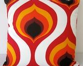 Last One - Geometric Retro Red, Orange, Yellow and White Designer fabric Cushion Cover, Slip cover, throw pillow