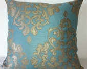LAST ONE Damask teal and matt gold cushion cover, slip cover, throw pillow, decorative cushion, accent pillow