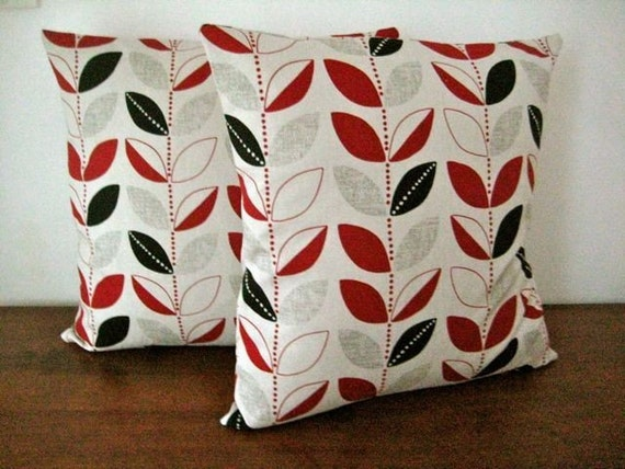 Two Leaf Motif Grey Black And Red Cushion Covers By