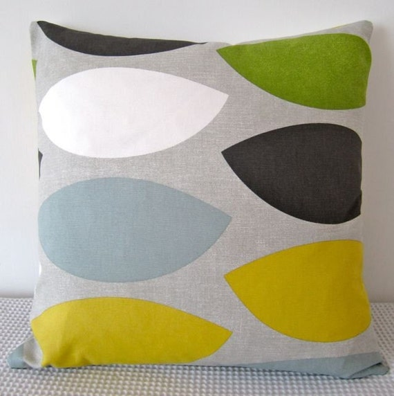 Is Duck Egg Blue Or Green: Geometric Retro Green Yellow Duck-Egg Blue Cushion By