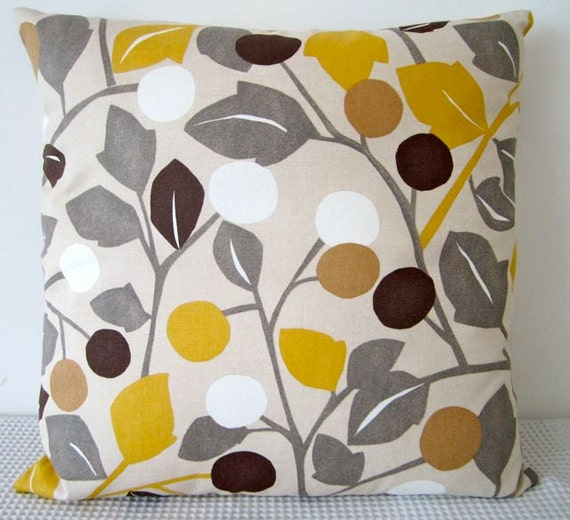 Floral Retro Yellow Brown Grey And White Cushion By
