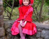 Bunnycoat/ Little Red Rabbit Hood with pink trim size 5 / 6