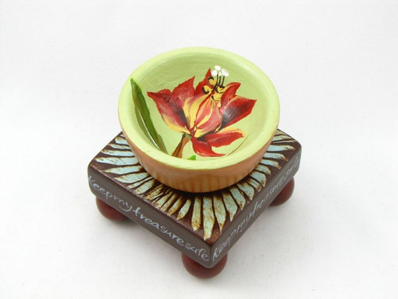 Ring Bowl / Jewelry Organizer / Hand Painted Wood