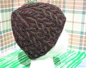 Ladies Fair Isle and Cable Knit hat,  merlot red and evergreen