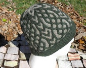 Large mens winter hat handknit in evergreen and sandy brown