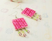 Pink earrings from polymer clay - romantic earrings, bright earrings, love, gift idea for her, for girl - ready to ship