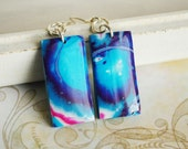 Blue purple earrings from polymer clay OOAK - nautical jewelry, turquoise earrings, navy blue, geometry, neon, gift for her - ready to ship