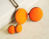 Orange set of earrings studs ring and necklace from polymer clay - textured orange jewelry, neon, citrus, gift for her, girl - ready to ship
