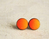 Orange earrings small ear studs texture tiny jewelry - orange earrings, citrus earrings, neon, gifts idea for her for girl  - ready to ship
