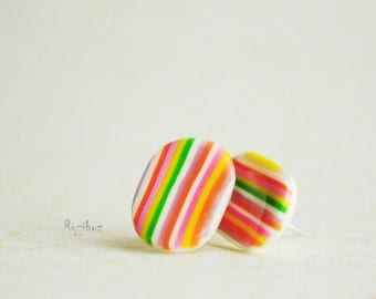 Bright striped earrings ear studs from polymer clay - multicolor jewelry, geometry, cute, gift idea for her, lines - made to order