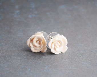 White Roses earrings ear studs from polymer clay - flower jewelry, wedding, bride, pastel, gift idea for her - made to order