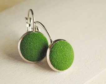 Green earrings from polymer clay - grass earrings, green jewelry texture, nature, gift idea for her, girl  - made to order