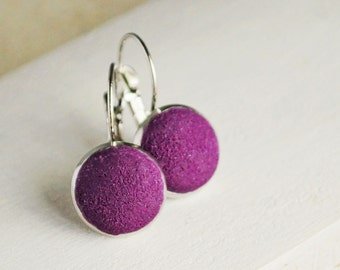 Purple earrings from polymer clay - violet earrings, purple jewelry texture, ice cream, gift idea for her, girl  - ready to ship