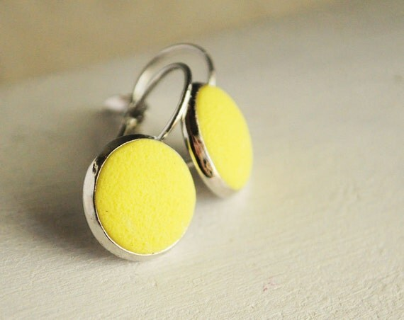 Yellow earrings from polymer clay - neon earrings, yellow jewelry texture, lemon, gift idea for her, girl  - ready to ship