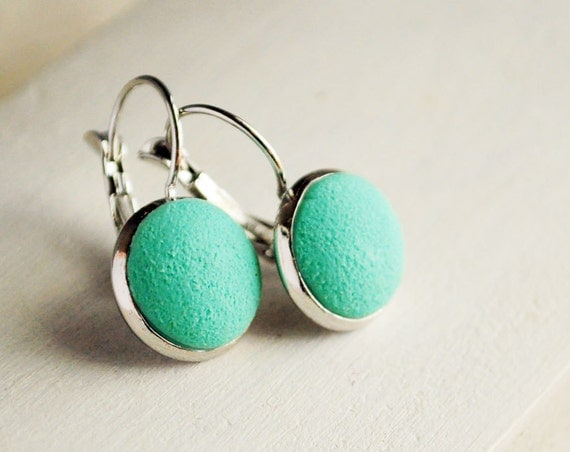 Mint earrings from polymer clay - neon earrings, menthol jewelry texture, fresh ice cream, gift idea for her, girl  - ready to ship
