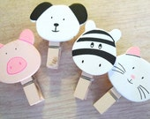4 pcs wooden paper clips (little animals)