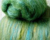 Alpaca and silk spinning fibre batts - light green rosella