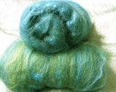 Alpaca and silk spinning fibre batts - dark green rosella