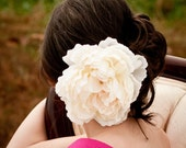 Ivory Peony, bridal hair flower, hair accessory
