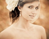 Bridal Birdcage VEIL ONLY Beautiful Modern with a vintage style Ivory Veil or White detachable Bird Cage VEIL,