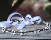 White Simple Berry Hair Wreath, Bridal hair wreath, Flower girl wreath, pink flower girl hair wreath